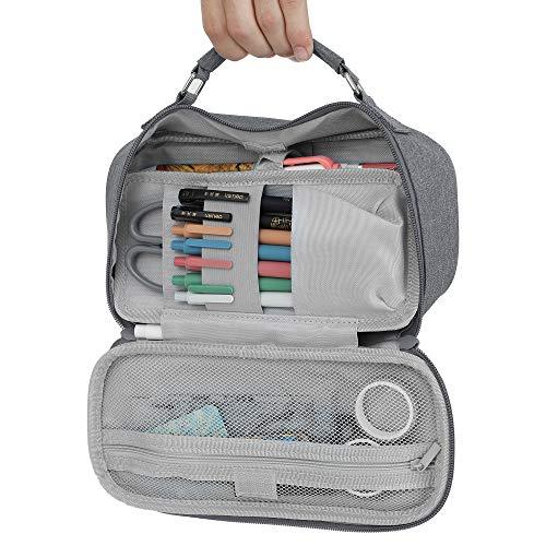 Federmäppchen mit großem Fassungsvermögen, wasserdicht, mit Reißverschluss, Handtasche, tragbar, für Büro, Schreibwaren, Make-up, Schulbedarf, Organizer (grau)