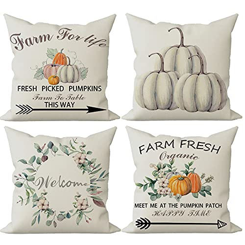 FIBEROMANCE Fall Throw Pillow Covers 18x18 Set of 4 Vintage Farmhouse Theme Farm Fresh Pumpkin Welcome Wreath Farm for Life for Sofa Couch & Bed for Home & Outdoor