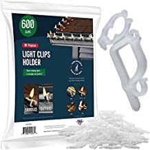 SEWANTA All-Purpose Light Clips Holder - Set of 600 Christmas holiday Outdoor light hooks - Mount lights to shingles & gutters, work with Rope, Mini, c-7-6-9, Icicle Lights. No tools required-USA Made