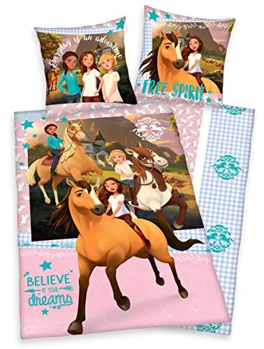 Klaus Herding GmbH Spirit Wild and Frei Paarden beddengoed 80x80 + 135x200cm, katoen (roze/turquoise)