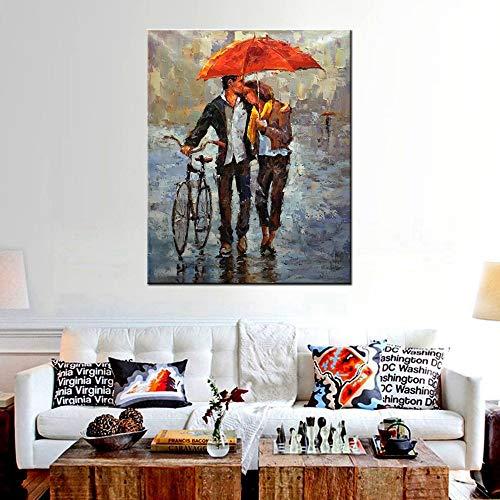 Lienzo moderno impreso para parejas con paraguas rojos, para sostener bicicletas, cuchillos, pintura al óleo, impresión sobre lienzo, paisaje, dormitorio, pared de 50 x 75 cm
