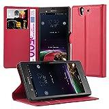 Cadorabo Coque pour Sony Xperia Z en Rouge Cerise - Housse Protection avec Fermoire Magnétique,...