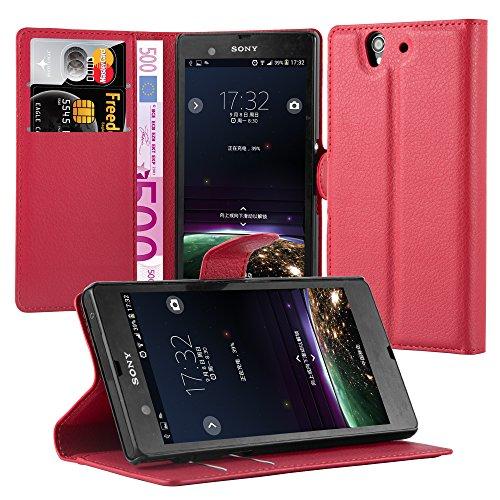 Cadorabo Hülle für Sony Xperia Z (1.Gen.) - Hülle in Karmin ROT – Handyhülle mit Kartenfach und Standfunktion - Case Cover Schutzhülle Etui Tasche Book Klapp Style
