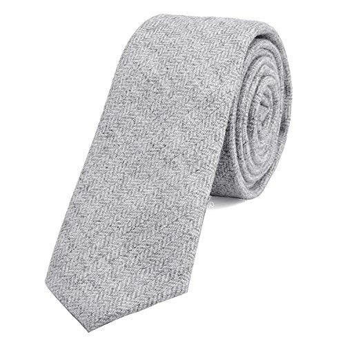 DonDon Corbata estrecha de algodón para hombres de 6 cm - gris blanco dibujo en espiga