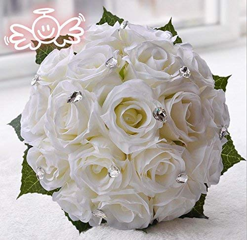 Western American wedding Church wedding elegant bride roses Rhinestone bouquet Bridesmaid flower (ivory)