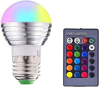 3W LED-kleur veranderende gloeilampen, E27 dimbare RGB-gloeilamp, hoge helderheid, afstandsbediening, 16 kleuren verstelba...