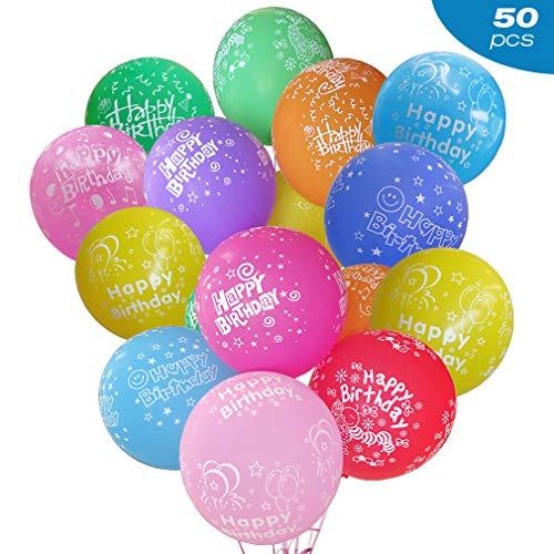 Flow.month Geburtstag Luftballons Bunt Ballons aus Latex mit Happy Birthday Überschrift für Kindergeburtstag oder Party 12 Zoll