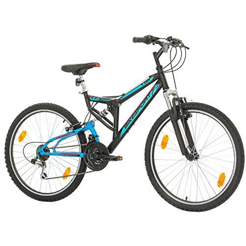Fahrrad MTB Mountainbike Fully Full Suspension 26 Zoll Bikesport PARALLAX Shimano 18 Gang (Schwarz Blau) - 3
