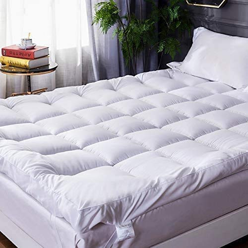 HitlineUK Microfibre Double Mattress Toppers 4' 10cm Hotel Quality Bed Topper Supersoft Heavy Fill Double Size Stitched and Elasticated Corner Straps Box