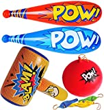 Pow Inflatable Baseball Bats (12) With Superhero Punch Balloons (12) & Huge 30' Bopper Inflate (1) Superhero Birthday Party Favors for Kids, Party Supplies, Carnival Prizes for Boys by 4E's Novelty