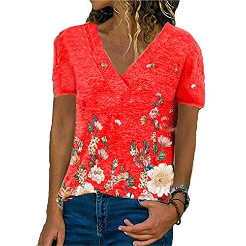 Manga Corta Mujer Tops Verano Cuello V Mujer Blusa Exquisito Color Flores Patrón Impresión Diseño Diario Casual Suelto Transpirable All-Match Mujer T-Shirts C-Red L