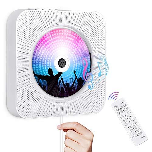 Gueray Portátil Bluetooth Reproductor de CD con Control Remoto Radio FM Altavoces de Alta fidelidad incorporados Conector de Auriculares Salida de Entrada USB AUX incorporada (Blanco 01)