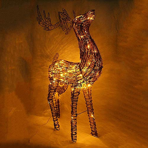 YWZQ Light Up Glitter Iron Reindeer Metal Iron Frame Rattan LED Warm White Light for Christmas Lights Decorations Indoor Outdoor,100cm