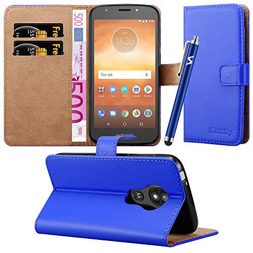 Case For Moto E5 Play Phone Case Leather Magnetic Wallet Card Holder Flip Stand View Protective Cover For Motorola Moto E5Play (Blue)