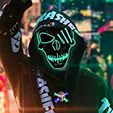 Mitcien Halloween LED Masken, LED Purge Mask, Leuchtmaske mit LED Halskette für Halloween Fasching...