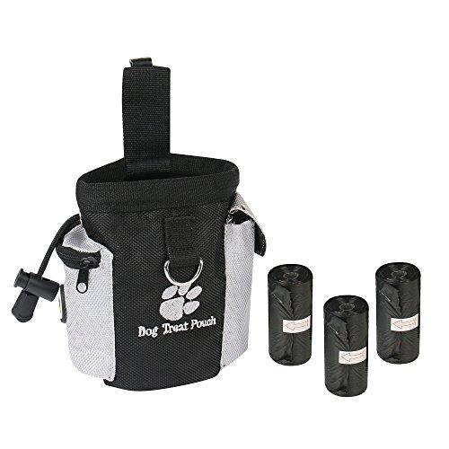 AMATHINGS Futtertasche Für Hundetraining Mit 60 Kotbeuteln, Snack Tasche, Leckerli-Beutel In Der Größe 15 x 14 cm (B x H) In Schwarz Mit Befestigungsclip Und Verschließbarer Strech-Öffnung