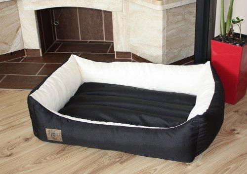 Odolplusz Hond Bed Huisdier benodigdheden Warm Mand Grote Extra XL Maat 90 X 60 cm, Waterdicht, zwart-beige