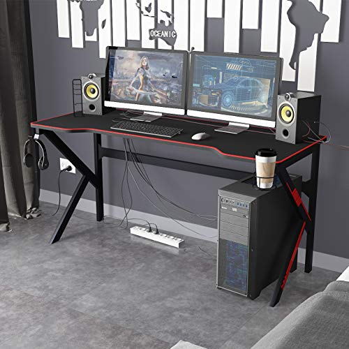 DlandHome 63 inches Gaming Desk w/All Covered Mouse Pad/USB Charge Rack/Headphone Holder/Cup Holder Multifunction Computer Desk/Gaming Table,...