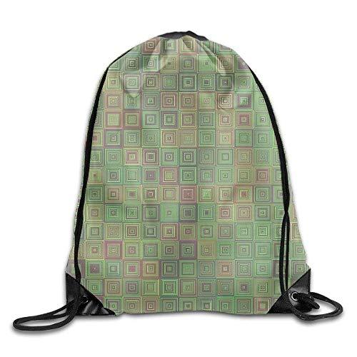 JHUIK Drawstring Bag Backpack,Sac à Dos Unisexe à Motif carré avec Cordon de Serrage