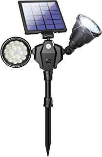 Solar Spot Lights Outdoor 36 LED Landscape Lamps Double Head 1000 Lumens Bright Spotlight Waterproof Flood Lamp with Motion Sensor for Deck Yard Garden Garage Driveway(White - 2 Pack)