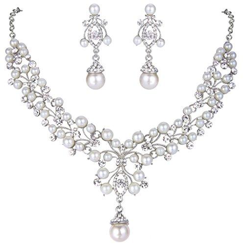 EVER FAITH Flower Simulated Pearl Wedding Jewelry Set Clear Austrian Crystal - Silver-Tone