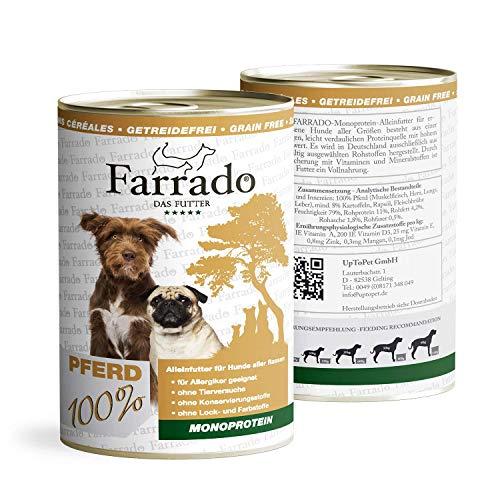 Farrado Pferd Monoprotein 6 x 800g   Getreidefreies/Glutenfreies Premium Nassfutter für Hunde   Dose