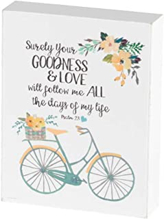 Dicksons Your Goodness, Love Follow Me Bicycle Peach Floral 3 x 4 Wood Wall Sign Plaque
