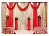 Eyestar Wedding Stage Decorations Backdrop Party Drapes with Swag Silk Fabric Curtain for Wedding/Birthday/Event (Bright Red),20x10ft