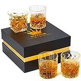 Bicchieri da Whisky Cristallo Bicchieri Whisky Cristallo Priva di Piombo Chiarezza Glass Bicchiere da Whisky Vintage(300ml 4 pezzi)