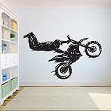 Calcomanía de pared de Motocross, estilo libre, deportes extremos, juego de motocicleta, pegatina de vinilo para ventana, dormitorio para adolescentes, gente, cueva, garaje, decoración del hogar
