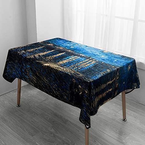 Creek Ywh Beibei stijl Van Gogh tafelkleed sterrenhemel, blauw fluweel, rechthoekige tafel, rond, TV-kast, tafelkleed van fluweel, 140 x 140 cm