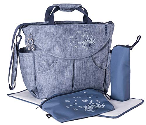flexible Wickeltasche Sumo mit Henkel, Schultergurt, Rucksack, Kinderwagenhaken, Wickelunterlage, isol. Flaschenhalter und Zubehörbeutel, Urban jeans, ca. 47 x 40 x 14 cm