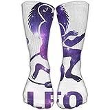 HomeMats Calcetines de compresión Classics Leo Galaxy White Calcetines deportivos personalizados deportivos de 30 cm de largo para hombres y mujeres