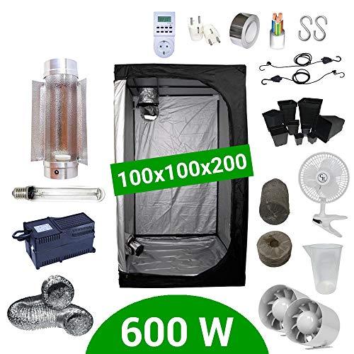 Kit Coltivazione Indoor 600W HPS Cooltube Protube - Grow Box 100x100x200 - Alimentatore Agrolite 2