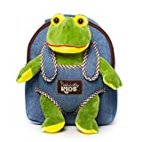 Plush Toddler Frog Backpack for Boys Girl - Tiny Soft Frogs Stuffed Animal Backpack Frog Plush - Kids Toys for 3 4 5 6 7 Year Old Boy Birthday Gift - Stuffed Frog Toy Plushie Denim Backpack Frog Stuff