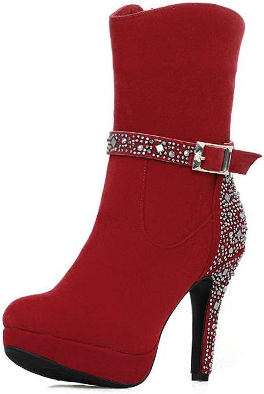 AdeeSu Womens Chunky Heels Electroplate Heel Platform Imitated Suede Boots SXC03479