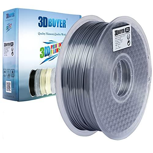 3DBUYER Shiny Silk Silver Grey PLA 3D Printer Filament Dimensional Accuracy +/- 0.03 mm, 1 Kg Spool, 1.75mm