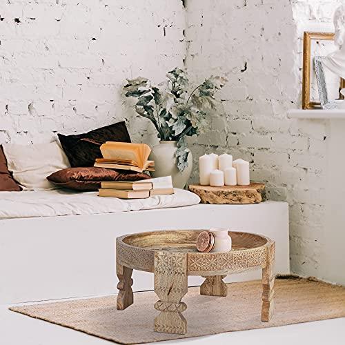 WOMO-DESIGN Tavolino da Salotto Ø 60 x 30 cm Rotondo Naturale Unico Fatto a Mano in Legno Massiccio di Mango e MDF Stile Orientale Tavolo da Soggiorno Camera da Letto Tavolino da Caffè Divano Basso