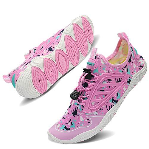 TIAMOU Women's Beach Swim Shoes Aqua Socks Water Shoes Barefoot Quick Drying Sports Shoes for Lightweight Slip On Walking Casual Shoes Pink
