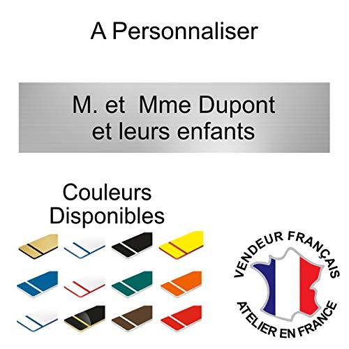 Plaque boite aux lettres adhésive PVC 10 x 2,5 cm | Plaque gravée | 1 à 2 lignes