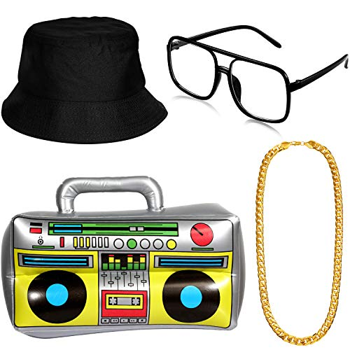 Hip Hop Costume Kit, Inflatable Boom Box Bucket Hat Sunglasses Gold Chain 80s/ 90s Rapper Accessories (Black)