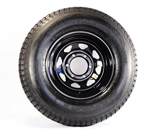 ST225/75R15 LRD 8 PR Rainier ST Radial Trailer Tire on 15' 6 Lug Black Spoke Trailer Wheel