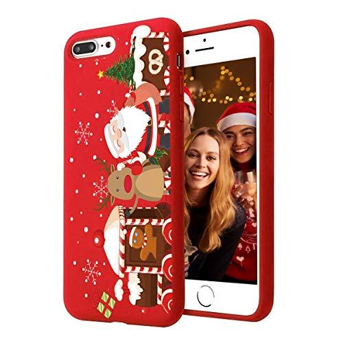 Yoedge Cover iPhone 7 Plus / 8 Plus, Sottile Antiurto Custodia Rosso Silicone TPU con Disegni Pattern Ultra Slim 360 Protective Bumper Case per iPhone 7 Plus / 8 Plus, Albero di Natale