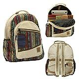 Natural Large Hemp Backpack - Blue Bag & Durable Anti Theft Travel Bag - Multi Color Stripe/Yoga/Hippie/Bohemian/Music Festival/Eco-Friendly/College Student Notebook Bag