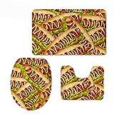 YHKC Hogar Jardín Hogar Cocina Categorías Baño Alfombrillas de baño Fun 3 Piece Bath Rug Set Hot Dog Print Super Soft Absorbent Bathroom Mats Contour Rug with Toilet Lid Cover
