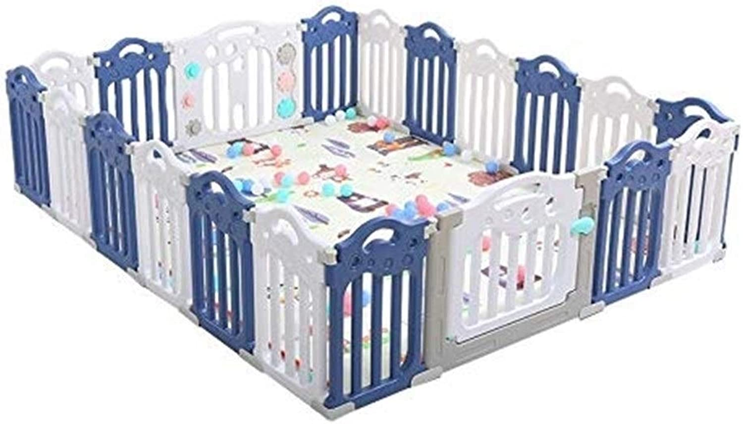 Baby Games Plastic Fence Collapsible Indoor and Outdoor Dividers MultiFunction Fence Portable Playground (color   blueee+White, Size   190  225cm)