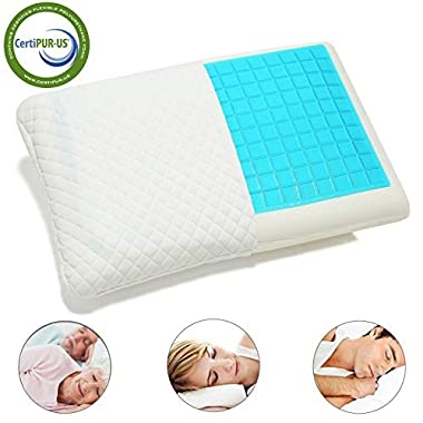 Hankey Double-Sided Memory Foam Cool Gel Pillow for Summer and Winter Use, Orthopedic Neck & Back Support Pillows, Soft & Comfortable Design, Removable Washable Hypoallergenic Cover, 60 x 40 x 12 CM (