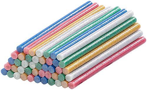 AGT Heisskleber: 50 Klebesticks für Heißklebepistolen, 11 x 200 mm, bunt glitzernd (Heissklebe-Sticks)