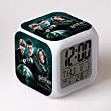 KFGJ Harry Potter Despertador para Niñas,Reloj Despertador Digital con 7 Colores Luz de Noche para Infantil,Hora Alarma Temperatura Fecha de Visualización A-4