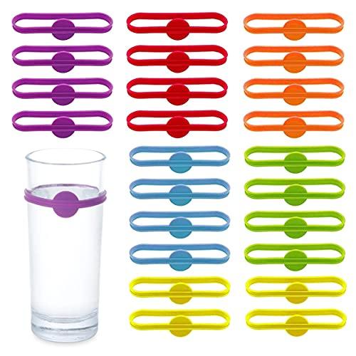 Dingzing Marcadores de Bebidas de Vino 24 Piezas Bebidas Marcadores Multicolor Reutilizable Marcadores de Etiqueta de Tira de Botella para Identificadores de Vidrio(6 colores)